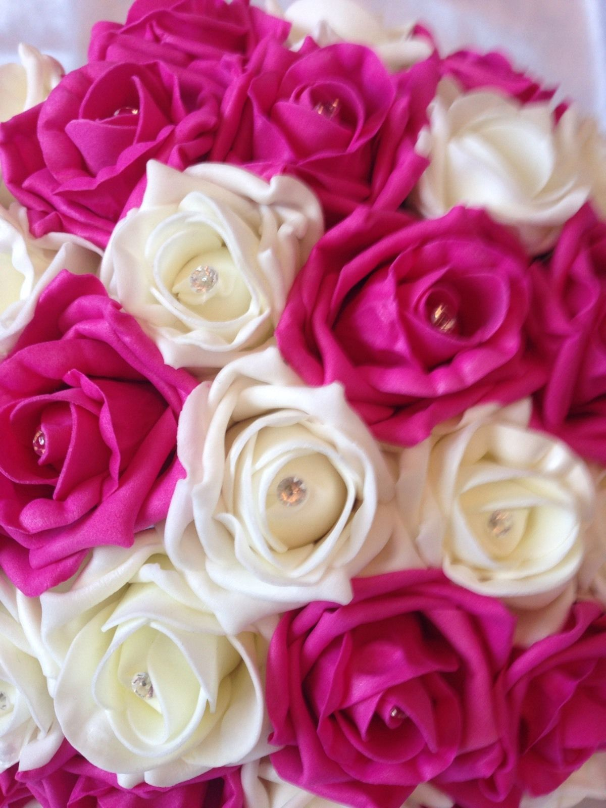 Artificial Flowers Hot Pink Ivory Foam Rose Bride Wedding Bouquet